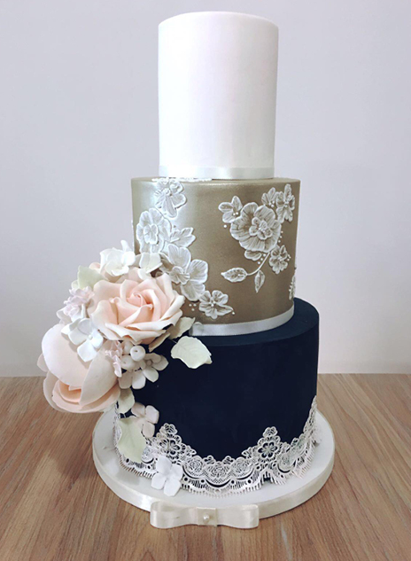 Navy Gold and Lace Wedding Cake North Yorkshire