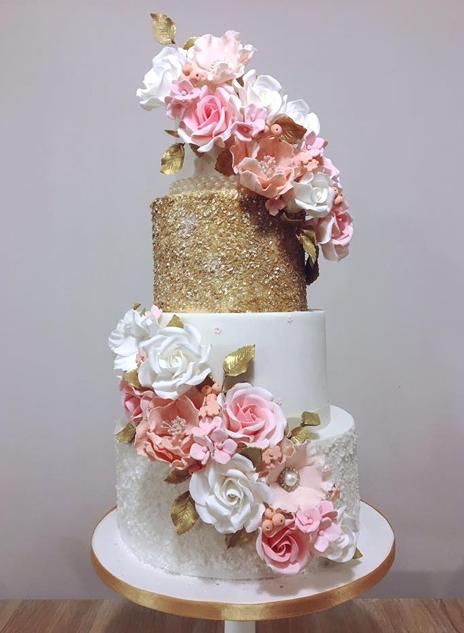 Blush and Gold Wedding Cake North Yorkshire