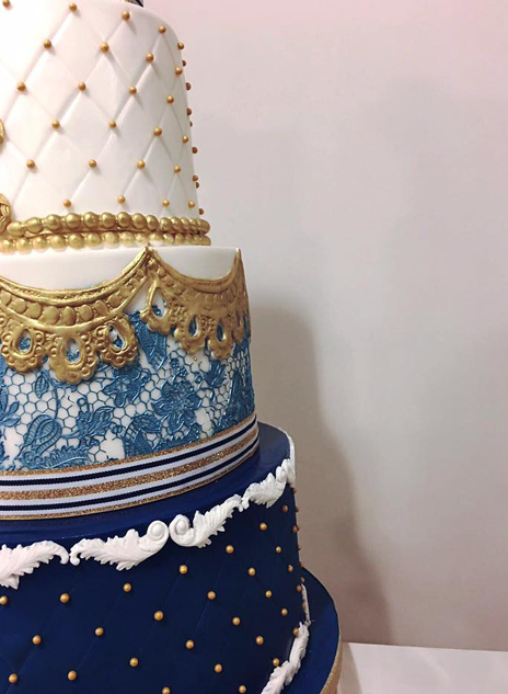 Blue and Gold Weddding Cake North Yorkshire