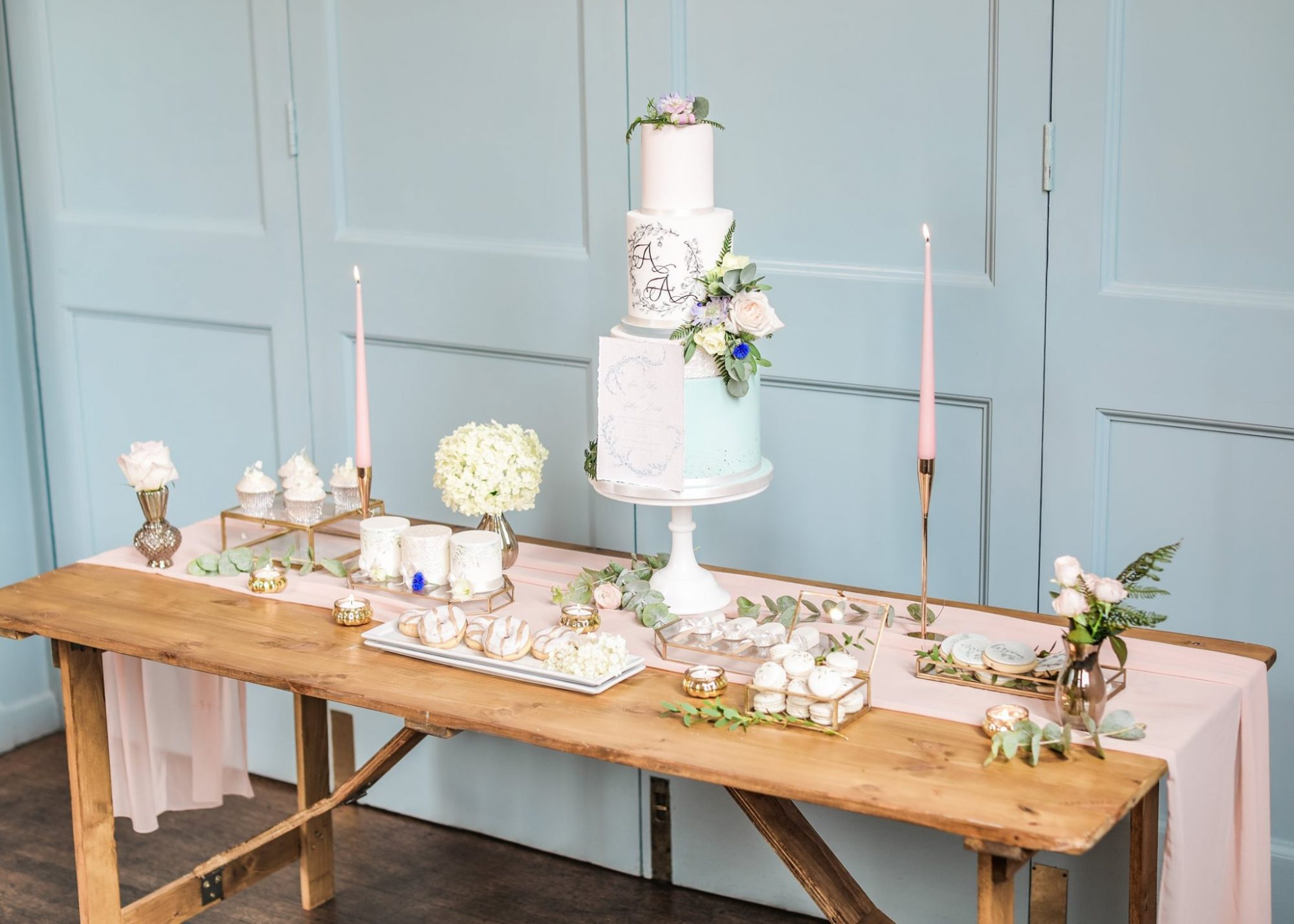 Pale blue and white dessert table
