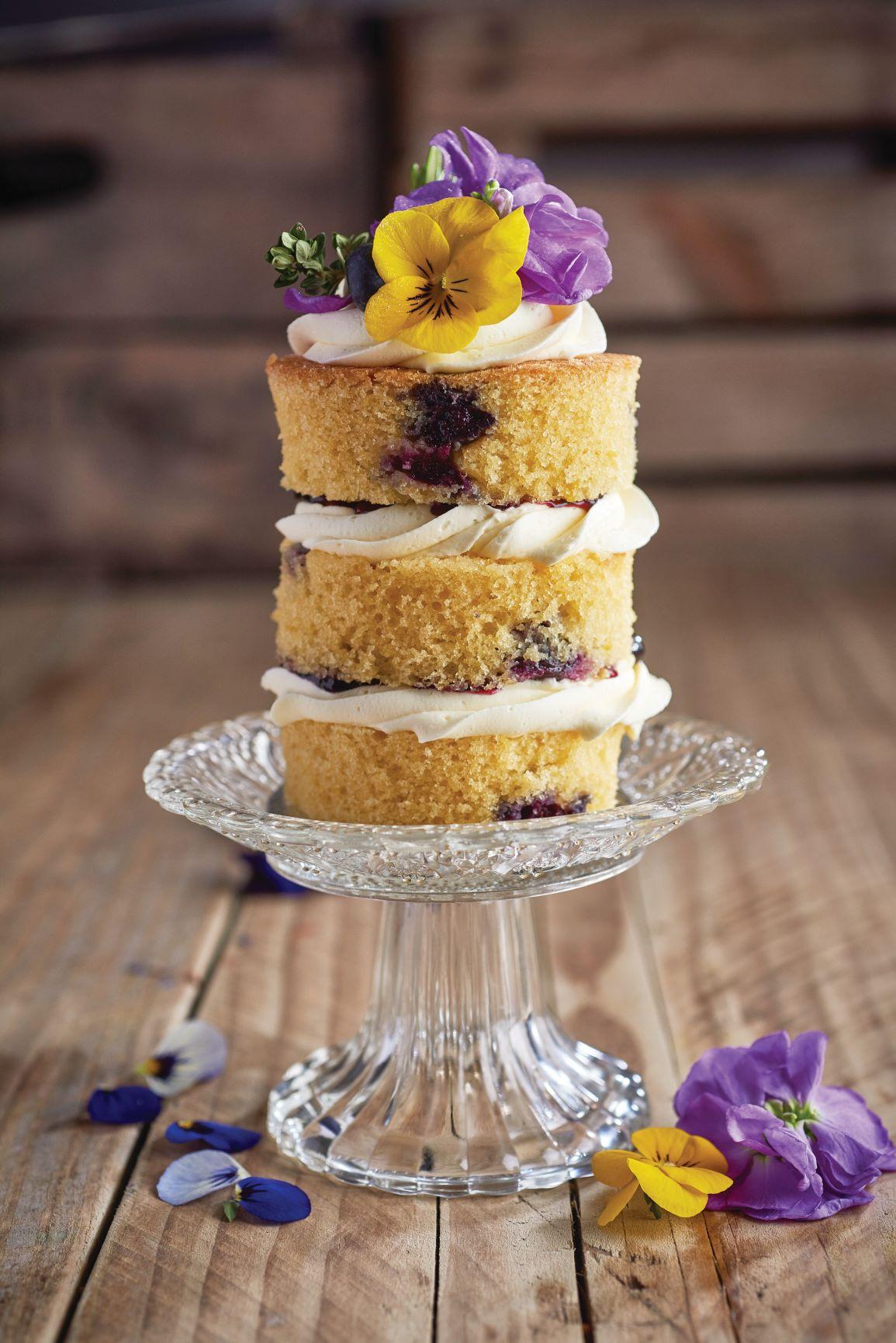 Blueberry and lemon mini cake